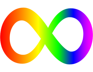 Simbolo infinito con arcobaleno