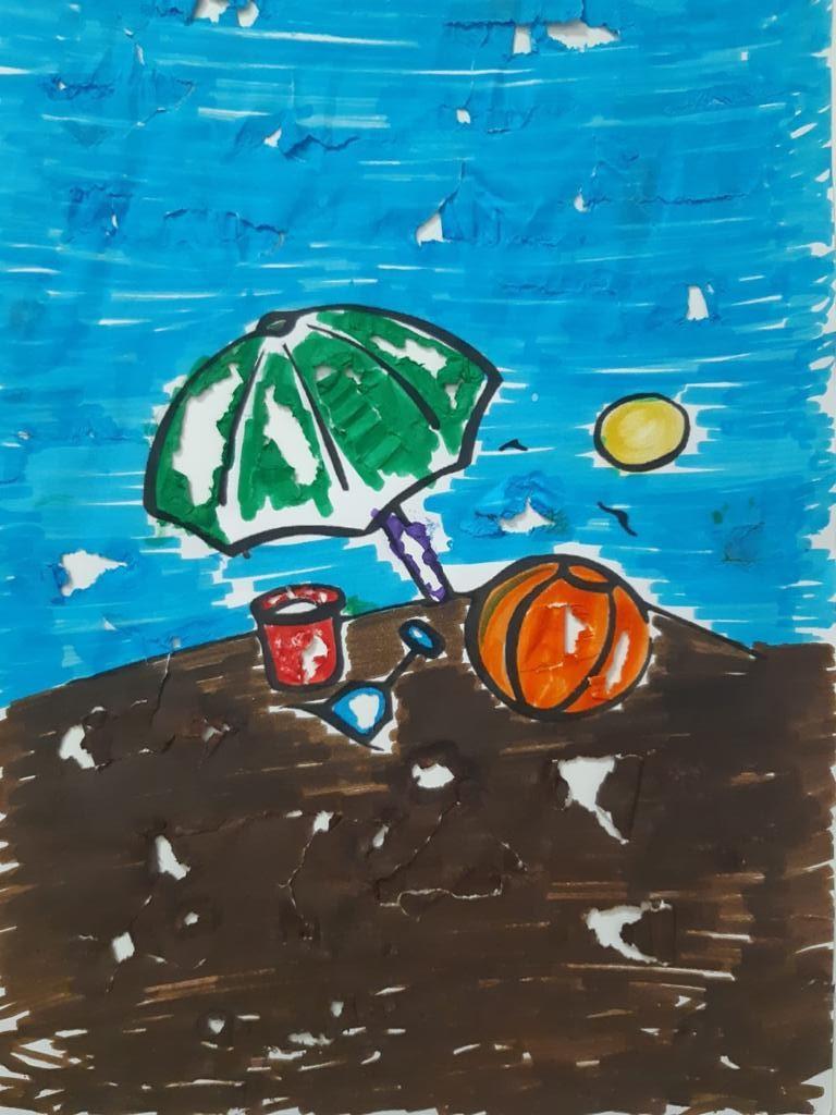 Disegno ombrellone palla e giocattoli in spiaggia