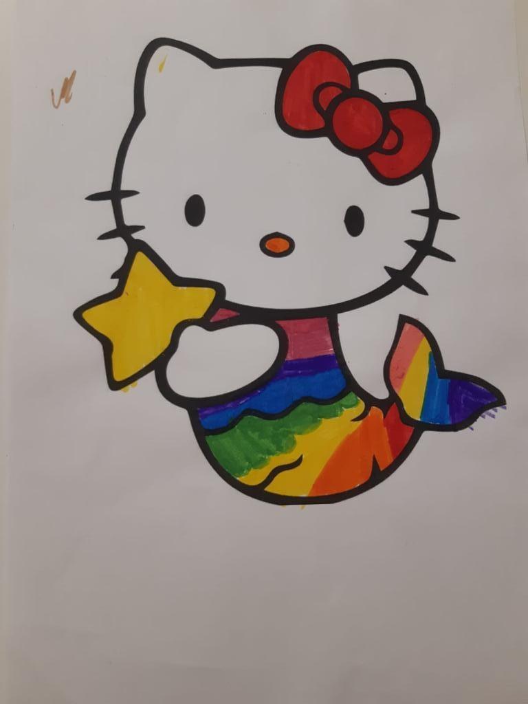 Disegno Hello kitty sirenetta con la coda arcobaleno
