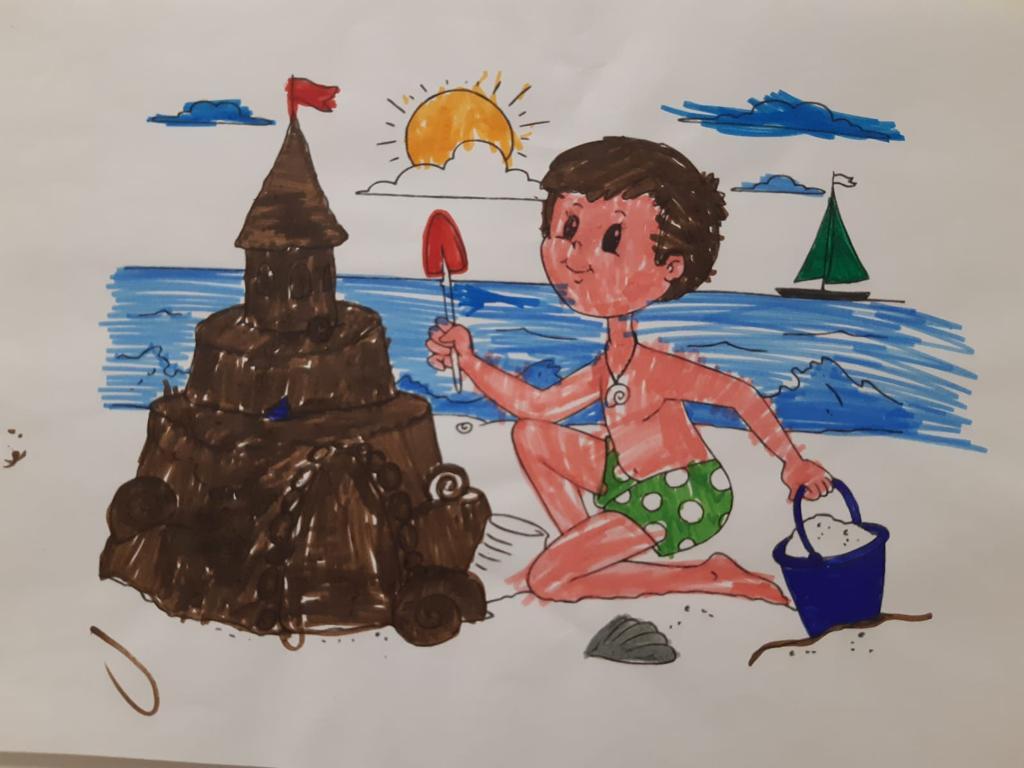 disegno bambino e castello di sabbia